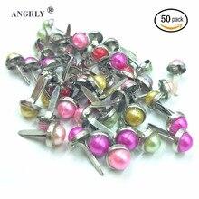 50 adet Moda Mücevher Boncuk Karışık Pastel Yuvarlak Başlı Scrapbooking Kart Damgalama Abartma DIY Aksesuarları Için Ev Dekor Za...