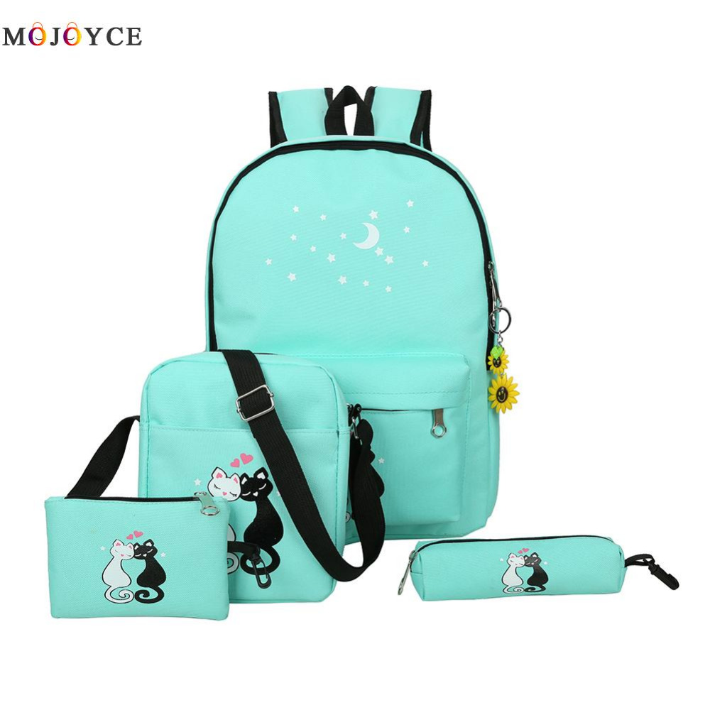 Famous Brand 4 Pcs/set Women Backpacks Cute Cat School Bags For Teenage Girls Printing Canvas Backpacks Ladies Shoulder Bags tangimp drawstring backpacks embroidery dear my universe cherry rocket printing canvas softback man women harajuku bags 2018