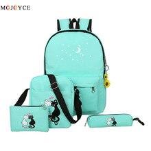 Famous Brand 4 Pcs/set Women Backpacks Cute Cat School Bags For Teenage Girls Printing Canvas Backpacks Ladies Shoulder Bags
