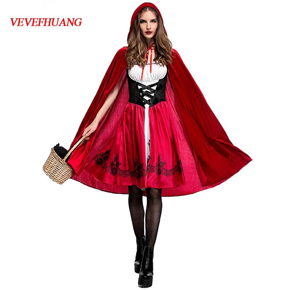 VEVEFHUANG Costumes d'halloween pour femmes Sexy Cosplay petit chaperon rouge jeu de fantaisie uniformes déguisement tenue reine des S-2XL