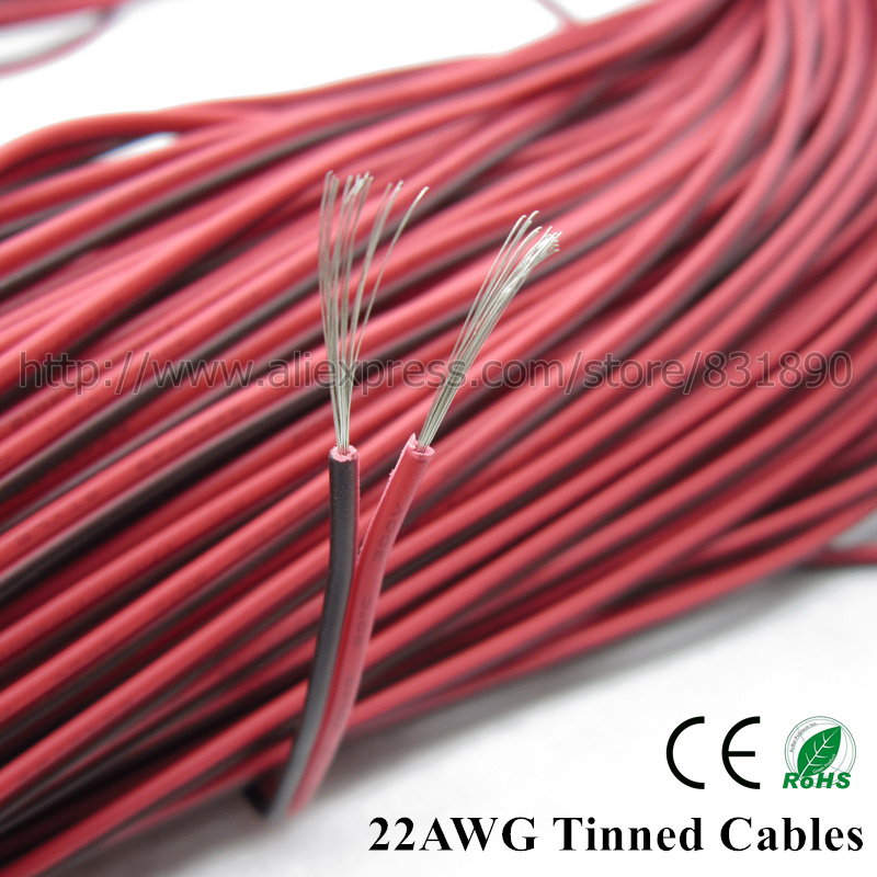 20m led wire 2p tinned copper cable 22AWG 24AWG 26AWG RVB PVC ...