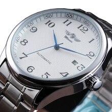WINNAAR Horloge Automatische Heren Horloges Business Klassieke Auto Datum Dag Rvs/Lederen Band Skeleton Self-wind Polshorloge