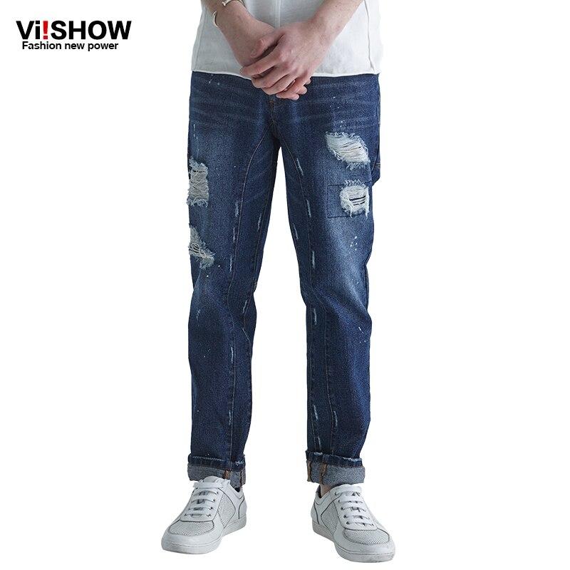 VIISHOW Brand clothing designer pants hole blue destroyed mens slim denim straight biker skinny jeans men ripped jeans 29-36