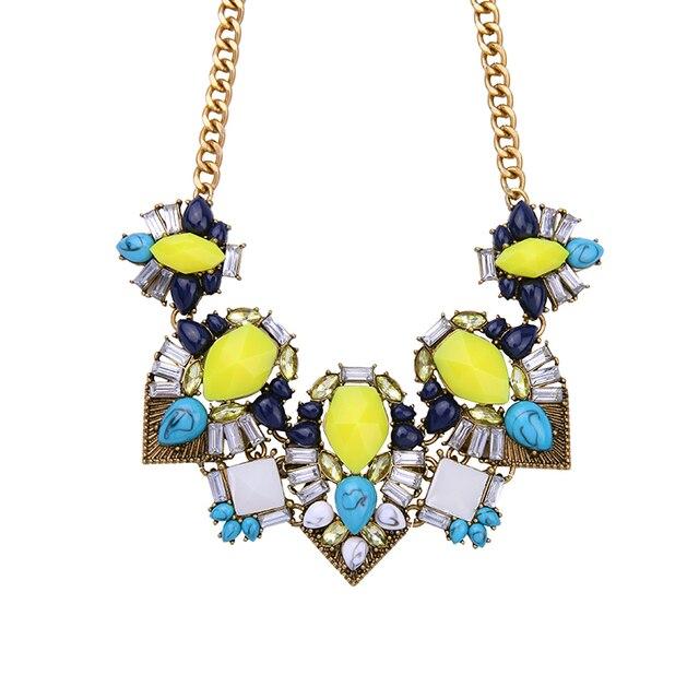 313bdf54d64c Declaración collar mujeres joyería grande amarillo piedra vintage elegante collar  gargantilla Collar para tendencias