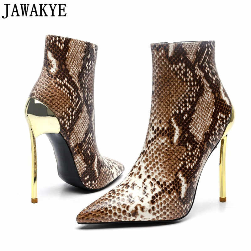 9192e735d0c9 Extremely 12 cm gold high heels gladiator short boots party snake skin PU  leather pointy toe