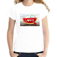 Summer Style T Shirt Short Women Watermelon O-Neck Tall
