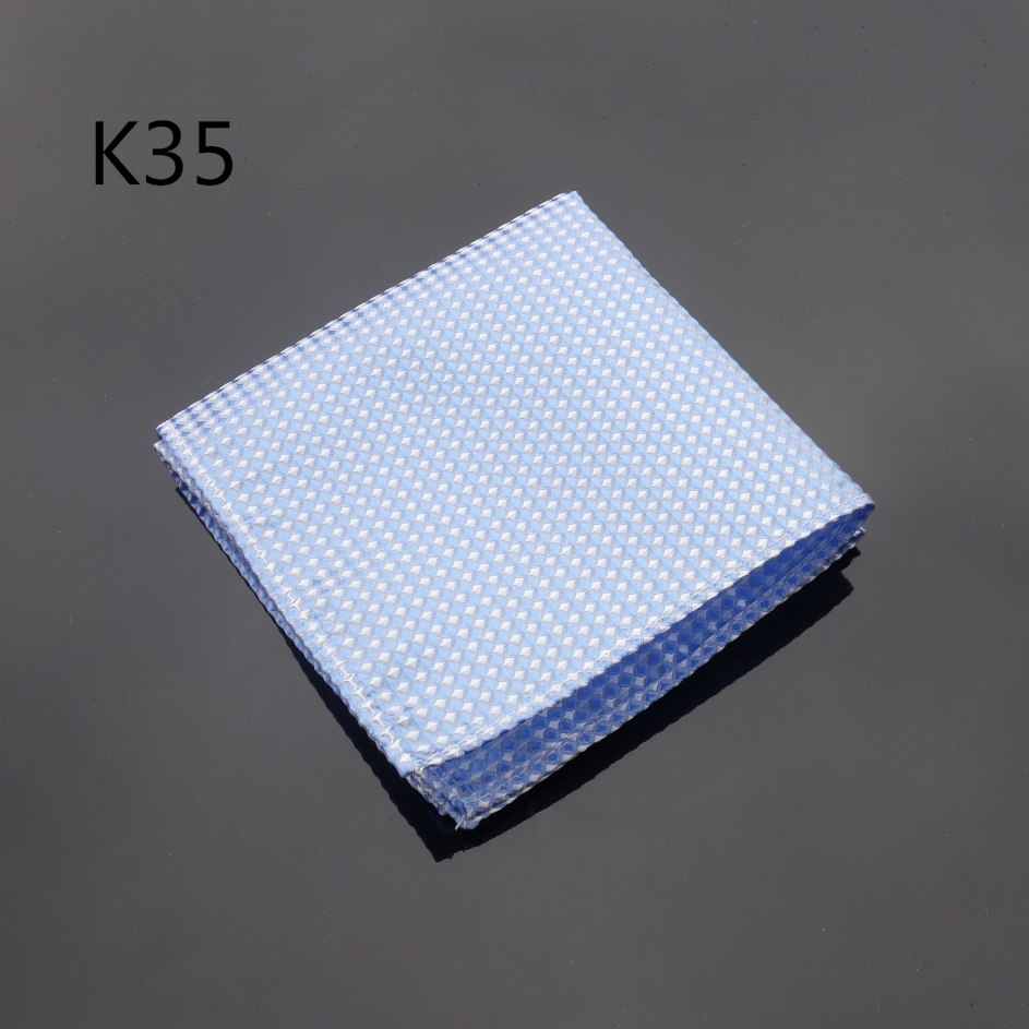 Handkerchief Classic Blue Checked Hanky Men Tie Jacquard Woven Pocket Square Fashion