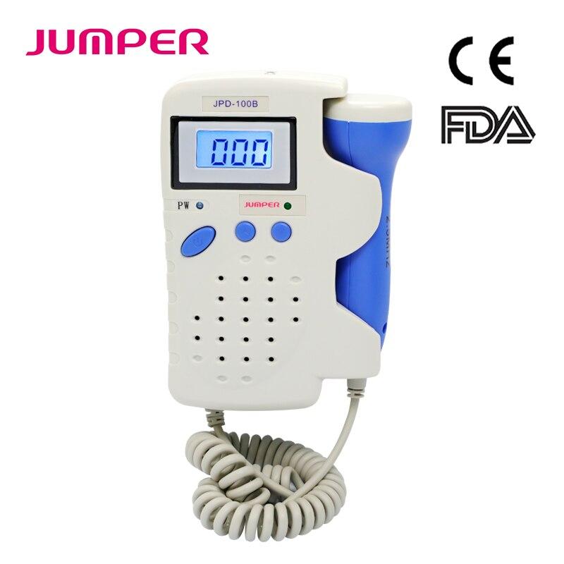 Pocket Fetal Doppler Prenatal Baby Heart Beat Monitor LCD Wave Display Fetal Doppler Monitor JPD 100B
