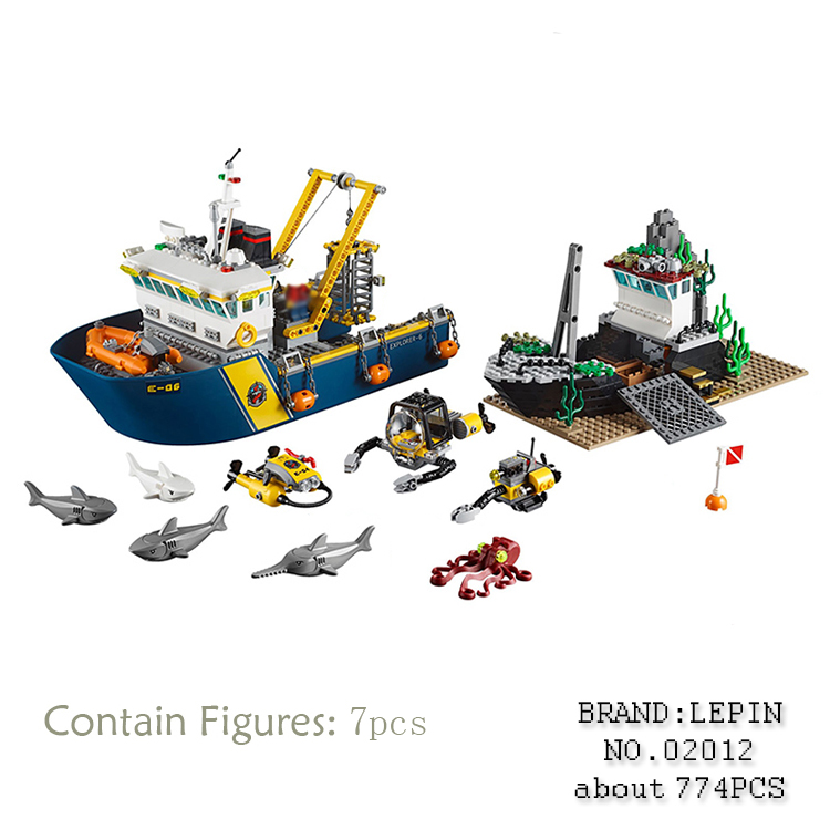 Lepin 02012 774Pcs City Series Deepwater Exploration Vessel Children Educational Building Blocks Bricks Toys ModelGifts 60095 774pcs city deep sea explorers 02012 model exploration vessel building blocks bricks children toys ship kit compatible with lego