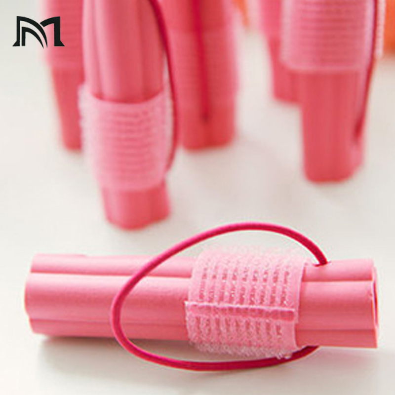 Купить с кэшбэком Self adhesive plastic sponge hair rollers Sleep flexi rods hair curlers rollers magic Hairdresser hair curlers tool sleep styler