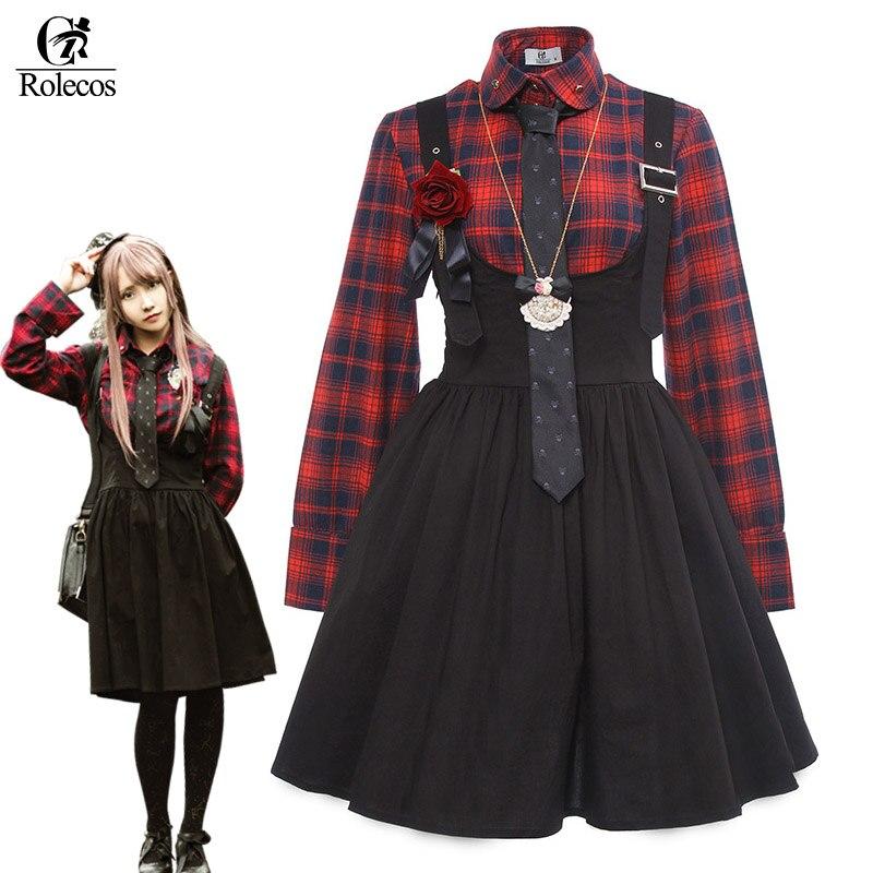 ROLECOS Gothic Lolita Dress for Women Punk Lolita Dress Suspender Plaid Shirt Girl JSK Vintage Costume Halloween Costume Skirt