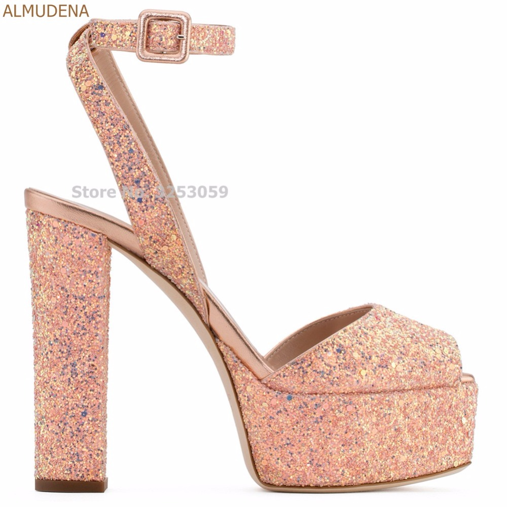 4a6589dddb6ca0 ALMUDENA Luxurious Women Bling Bling Sequined Platform Sandals Chunky High  Heels Sparkling Paillette Dress Shoes Wedding