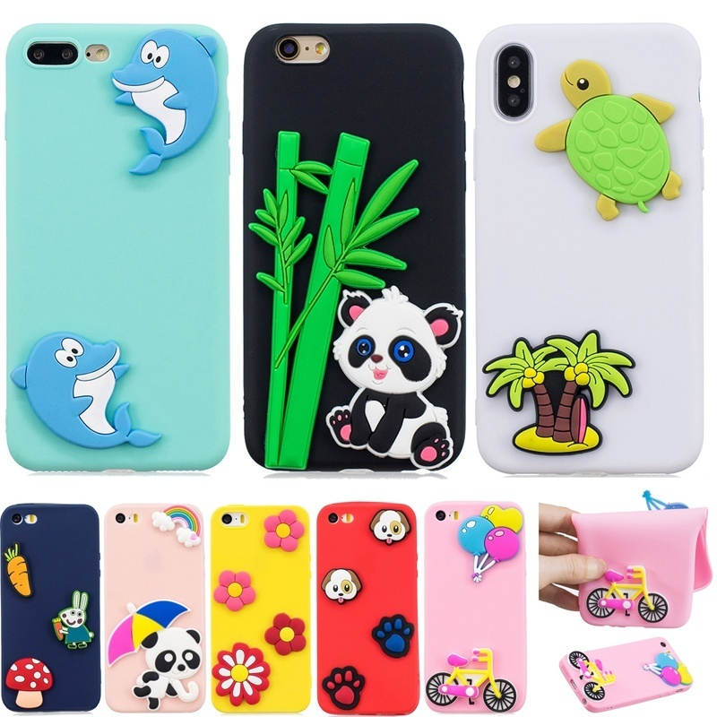 3d Stress Relief Soft Silicon Cute Unicorn Panda Printing Capa For Iphone 5 5s Se 6 6s 7 8 Plus X 10 Xs Max Xr Phone Cover Case Phone Bags & Cases