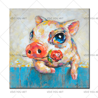 Funny Wall Art Painting Artist Hand painted Lovely Animal Piggy with Rose Oil Painting Cute Pig Oil Painting for Friend Gift