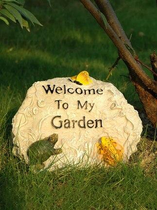 Pièces de jardin Rockery bienvenue marque décorations artisanat créatif résine Sculpture maison