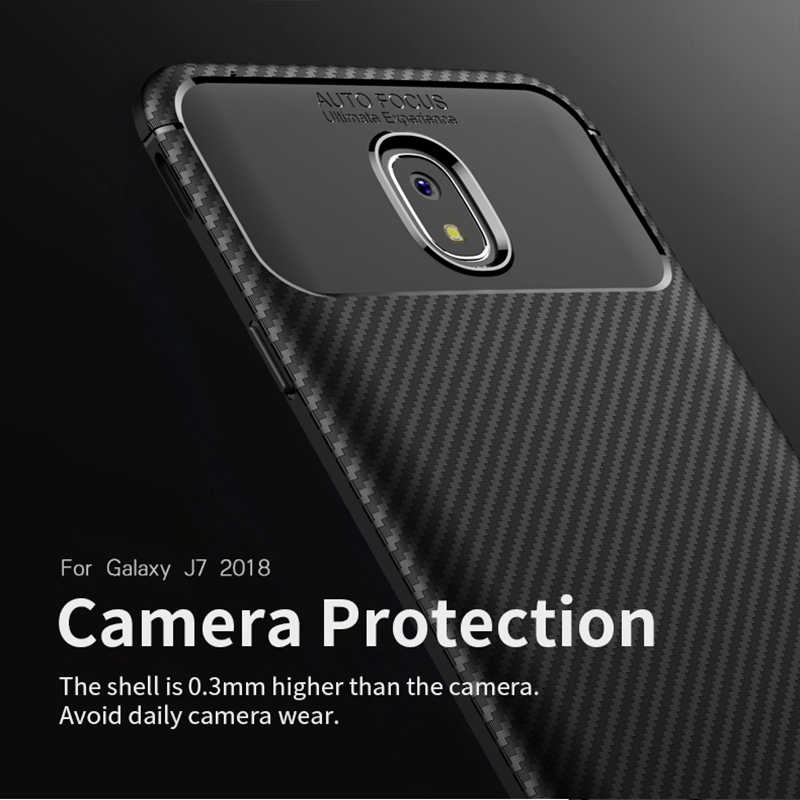 สำหรับ Samsung J7 2018 กรณี IPAKY สำหรับ J7 2018 กรณีซิลิโคน TPU คาร์บอนไฟเบอร์เกราะไฮบริดกันกระแทกสำหรับ Samsung j7 2018 กรณี