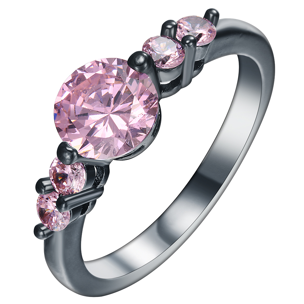 Classic Vintage Pink Stone Paved Black Gun Promise Rings New Fashion  Jewelry Gift Czech Zircon Engagement