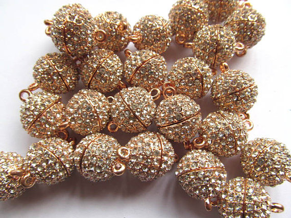 High Quality 50pcs 10-16mm BRASS crystal Magic Clasp Connectors brass Magnetic Clasps round ball gunmetal silver rose gold jewel