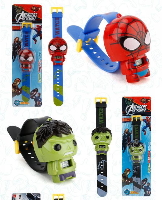 Reloj electrónico de dibujos animados para niños, Iron, Spiderman,etc. Relojes de pulsera para niños