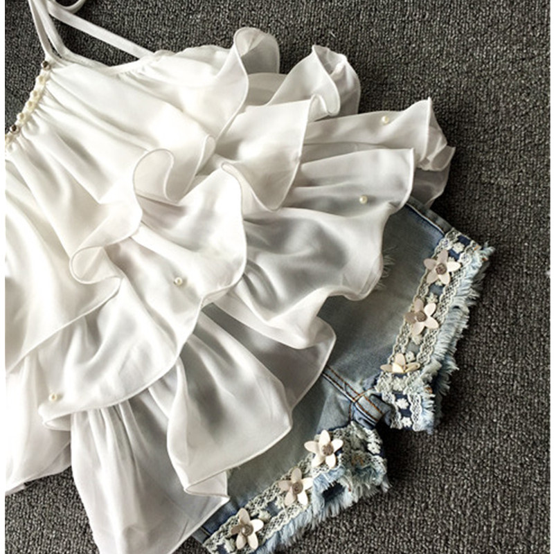 2017-Summer-Korean-Childrens-Clothing-Girls-Suit-Chiffon-Cake-Sling-Short-Pants-Pearl-Flower-Halter-Top-Denim-Shorts-Kids-Set-3