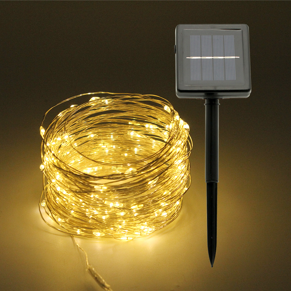 Outdoor 10M 20M Solar Lamp LED String Lights Flash 100 200leds Fairy Garland Waterproof For Christmas Home Wedding Decoration