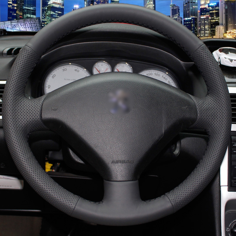 Hand stitched Black Leather Steering Wheel Cover for Peugeot 307 Car