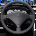 Hand-stitched Black Leather Steering Wheel Cover for Peugeot 307 Car