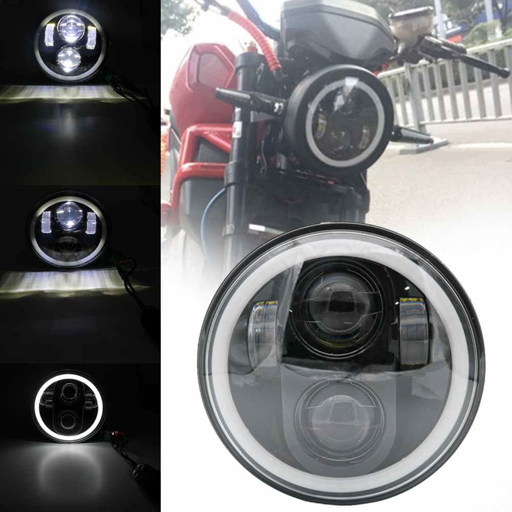 Motorcycle 5.75 Projector LED Headlight H4 Hi/Lo Beam With Angel Eye 5 3/4For Harley 883 sportster,triple,low rider,wide glide motorcycle 5 75 inch headlight white color angel eye drl hi lo beam 5 3 4 inch headlamp round led light for harley davidson