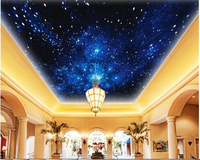 Beibehang Custom Ultra Realistic Wallpaper Blue Dream Cosmos Planet Living Room Ceiling Wall Painting Wallpaper For