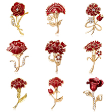 3D Vintage Red Carnation Flower Rose Flower Brooch Pin Collar Corsage Gold Pins Coat Badge Vintage Jewelry Mother's Day Gift