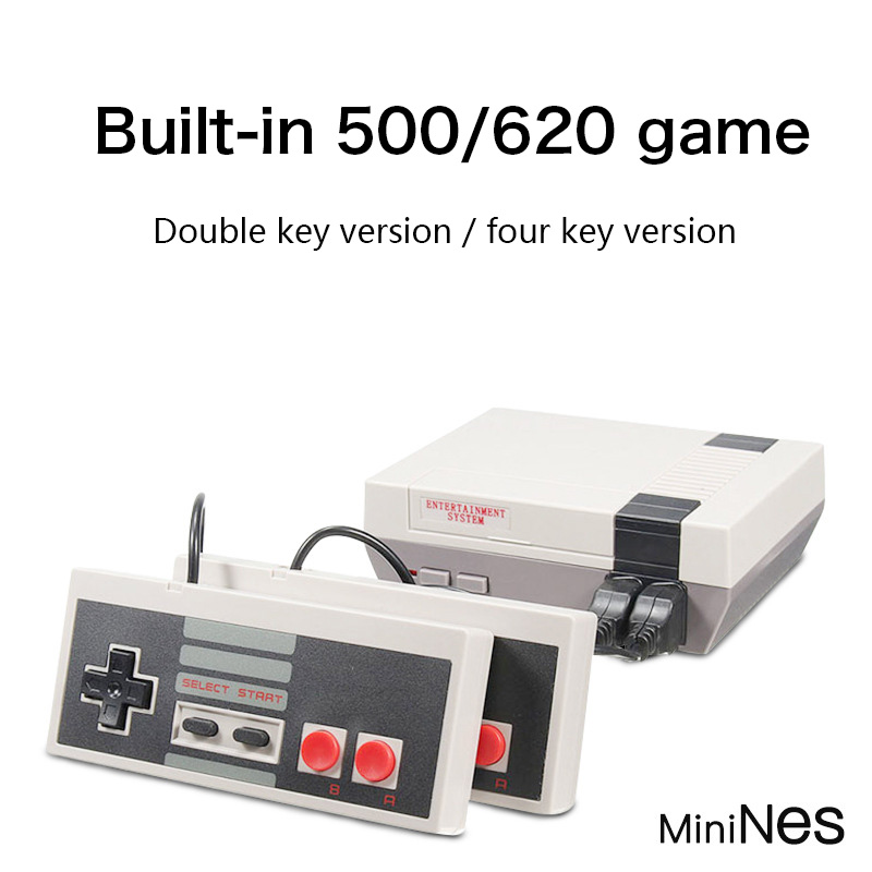 Mini tv handheld família recreação vídeo game console av porto retro built-in 620 jogos clássicos dupla gamepad jogador de jogos