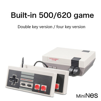 Mini TV portable famille loisirs Console de jeu vidéo AV Port rétro intégré 620 jeux classiques double manette de jeu joueur