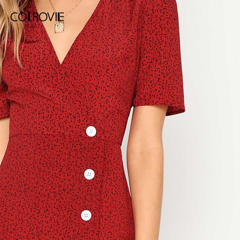 COLROVIE, Элегантное длинное женское платье с красной пуговицей, v-образным вырезом, расклешенное, с запахом, 2019, летнее, с коротким рукавом, ТРАПЕЦИЕВИДНОЕ, винтажное, офисное, Дамское Платье