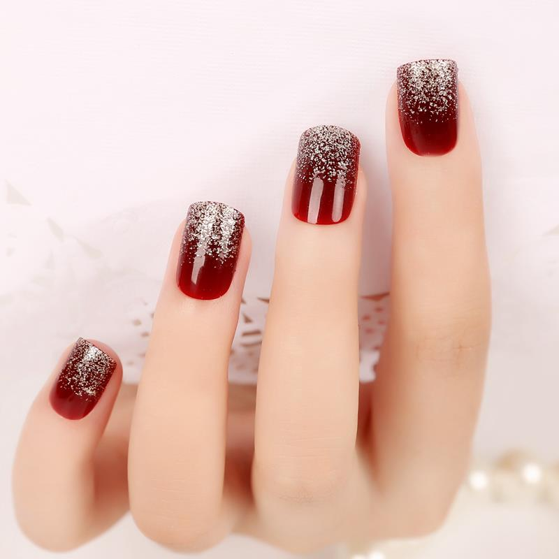 YuNail/rain dark wine red gradient glitter fake nails finished ...