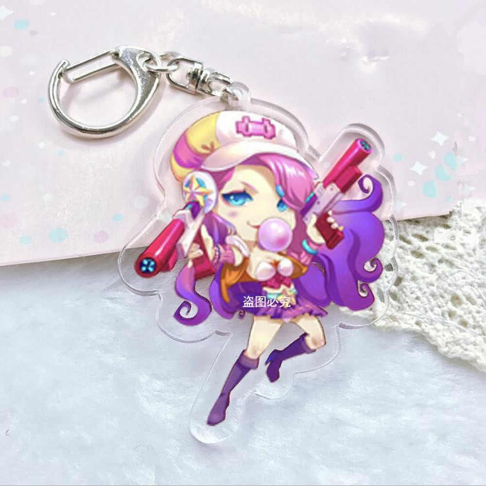 League of New Legends Soraka LOL Miss Fortune Orianna keychain Acrílico Lux Pingentes Chaveiro Cosplay circundante Llavero Chaveiro