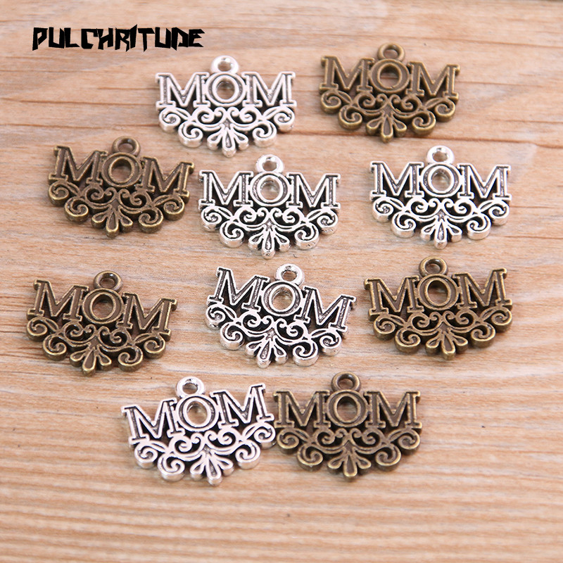 PULCHRITUDE 10pcs 17*20mm Metal Alloy Two Color Letter MOM Charms Pendants For Jewelry Making DIY Handmade Craft