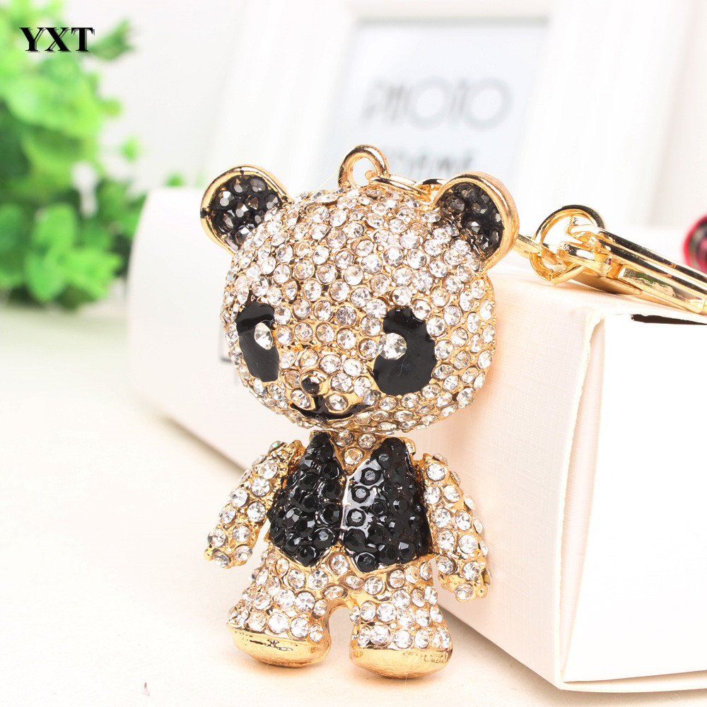 Panda Shirt Black Arm Head Move Keyring Pendant Charm Crystal Bag Purse Car Key Chain Women Jewelry Lovely Gift New Fashion