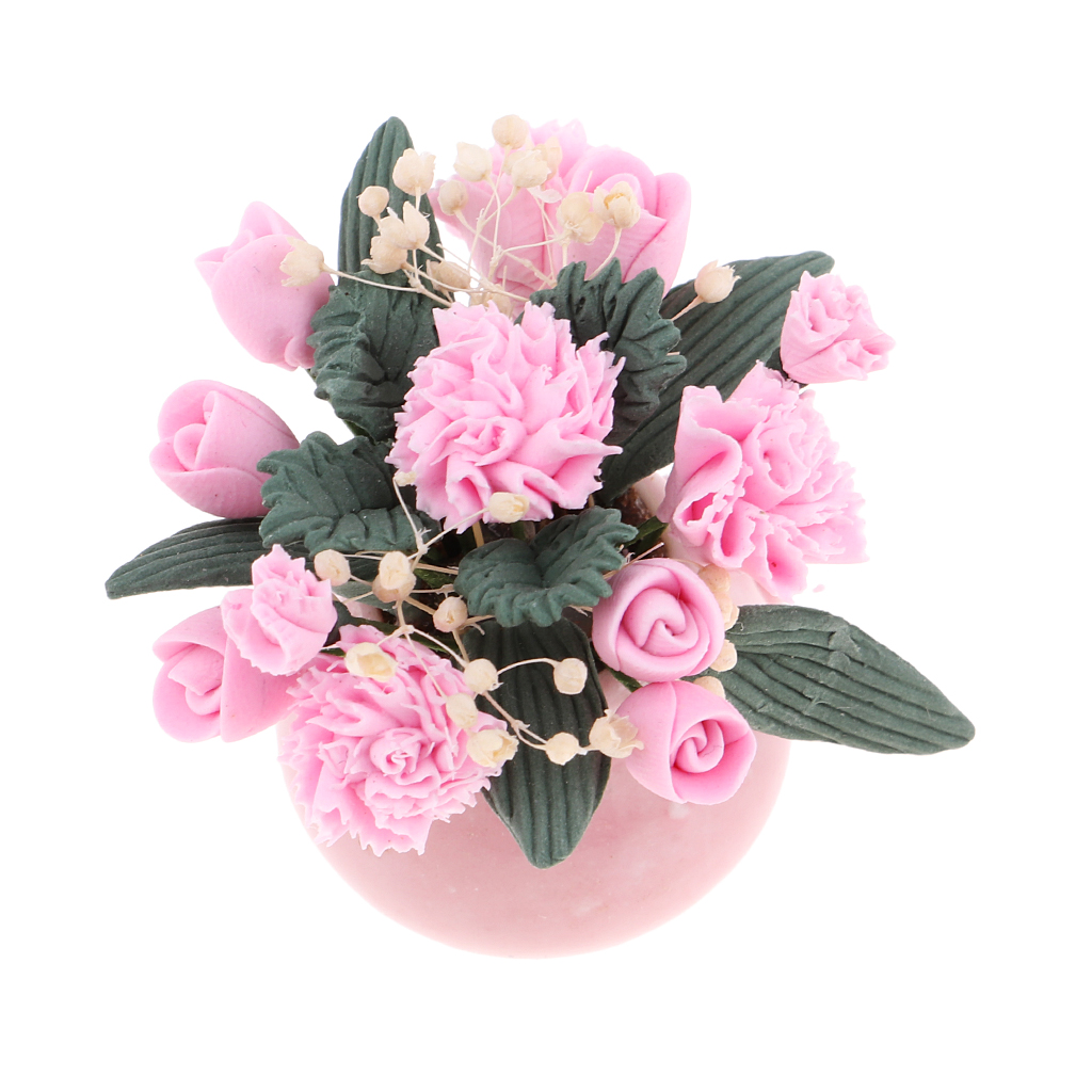 1:12 Scale Dollhouse Miniature Flower In Vase Bedroom Garden Accessories  - Pink Flowers