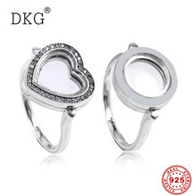 925 Sterling Silver Original Pan Locket Heart & Roundwith Clear Cubic Zirconia แหวนสำหรับของขวัญผู้หญิง DIY (China)