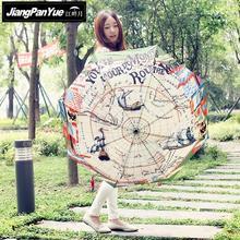 Creative Full Automatic Retro Navigation Map Umbrella 3 Folding Sunny Super Strong Wind Parasol