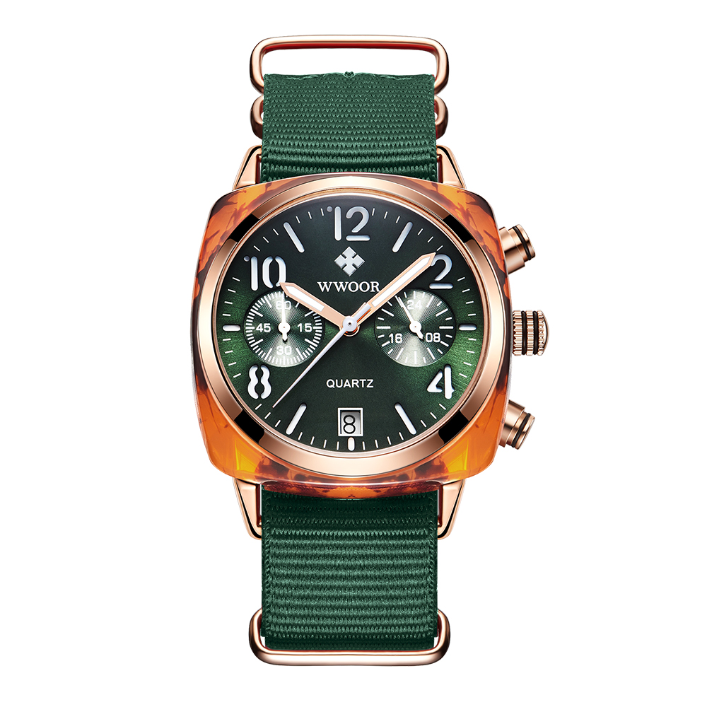 Image 2 - WWOOR Luxury Women Watches Waterproof Business green Nylon Ladies Quartz Relogio Feminino Milan Mesh Band Lady Watch Chronograph-in Women's Watches from Watches
