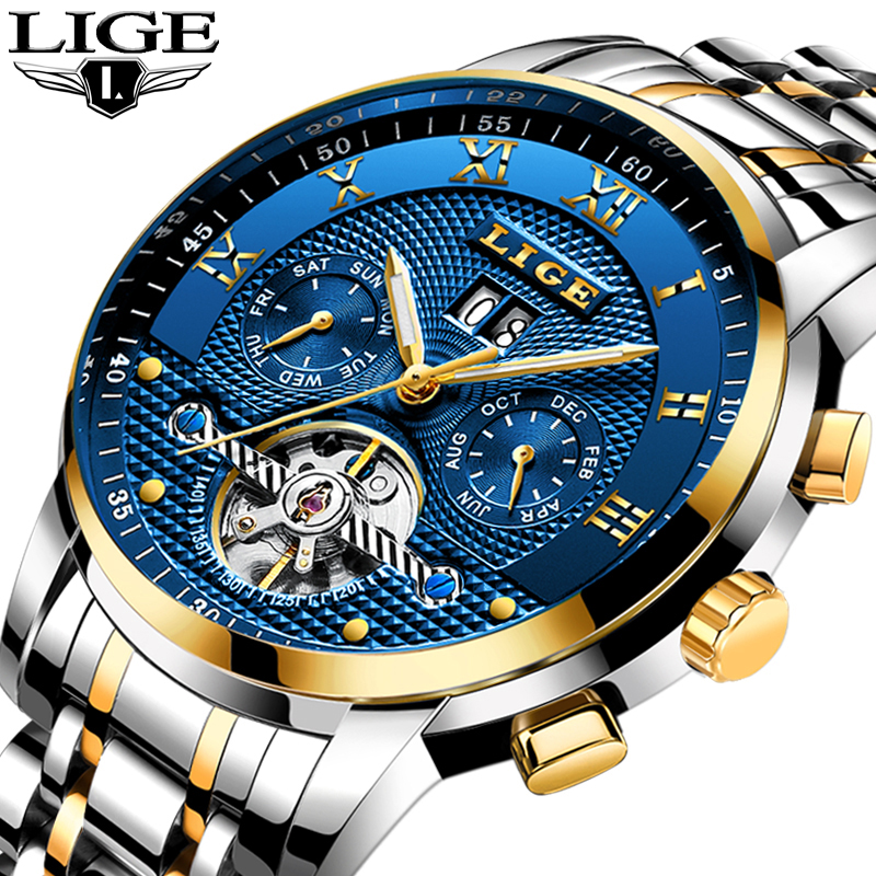 LIGE Mens Watches Top Brand Business Full Steel