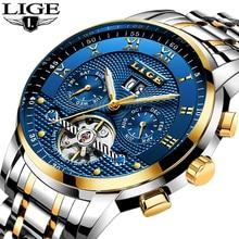LIGE Herren Uhren Top Marke Business Fashion Automatische Mechanische Uhr Männer Voller Stahl Sport Wasserdichte Uhr Relogio Masculino