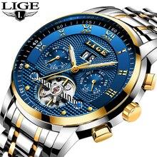 LIGE ساعات رجالي أفضل ماركة الأعمال أزياء التلقائي ساعة ميكانيكية للرجال كامل الصلب الرياضة ساعة مضادة للماء Relogio Masculino