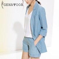 Genayooa Women Two Piece Suit Sets Cotton And Linen Summer Suit Two Piece Short Set For Women Suit Striped Blazer Trousers