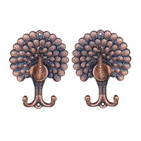 FLST 1 Pair of Vintage Peacock-Pattern Drapery/Curtain Holdbacks Tie Back Hooks---Antique Copper Color