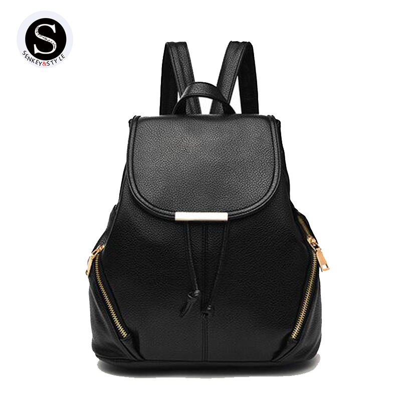 Senkey Style Girls Designer Backpack High Quality Woman Backpack 2017 School Bags For Teenagers Luxury Brand Leather Student