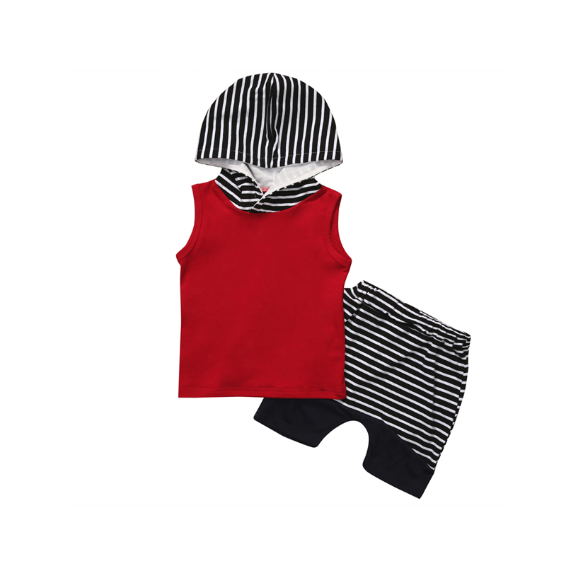 2PCS 0-4Y Fashion Active Newborn Toddler Baby Boys Cotton Sleeve Hooded Pullover Red Shirt Top Striped Short Pants Outfit Summer 2pcs children outfit clothes kids baby girl off shoulder cotton ruffled sleeve tops striped t shirt blue denim jeans sunsuit set