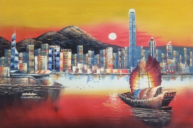 Hong Kong Woonkamer : Handgeschilderde modern olieverfschilderij hong kong stad sunrise