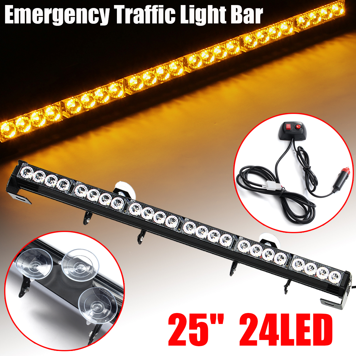 25 24 LED Amber Light Emergency Warning Strobe Flashing Yellow Bar Hazard Dash vehicle roof top emergency hazard warning strobe light lamp 240 led amber